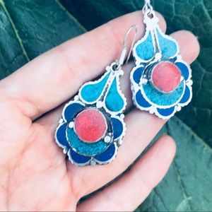 Jewelry - TURQUOISE CORAL sterling silver EARRINGS  FLORAL